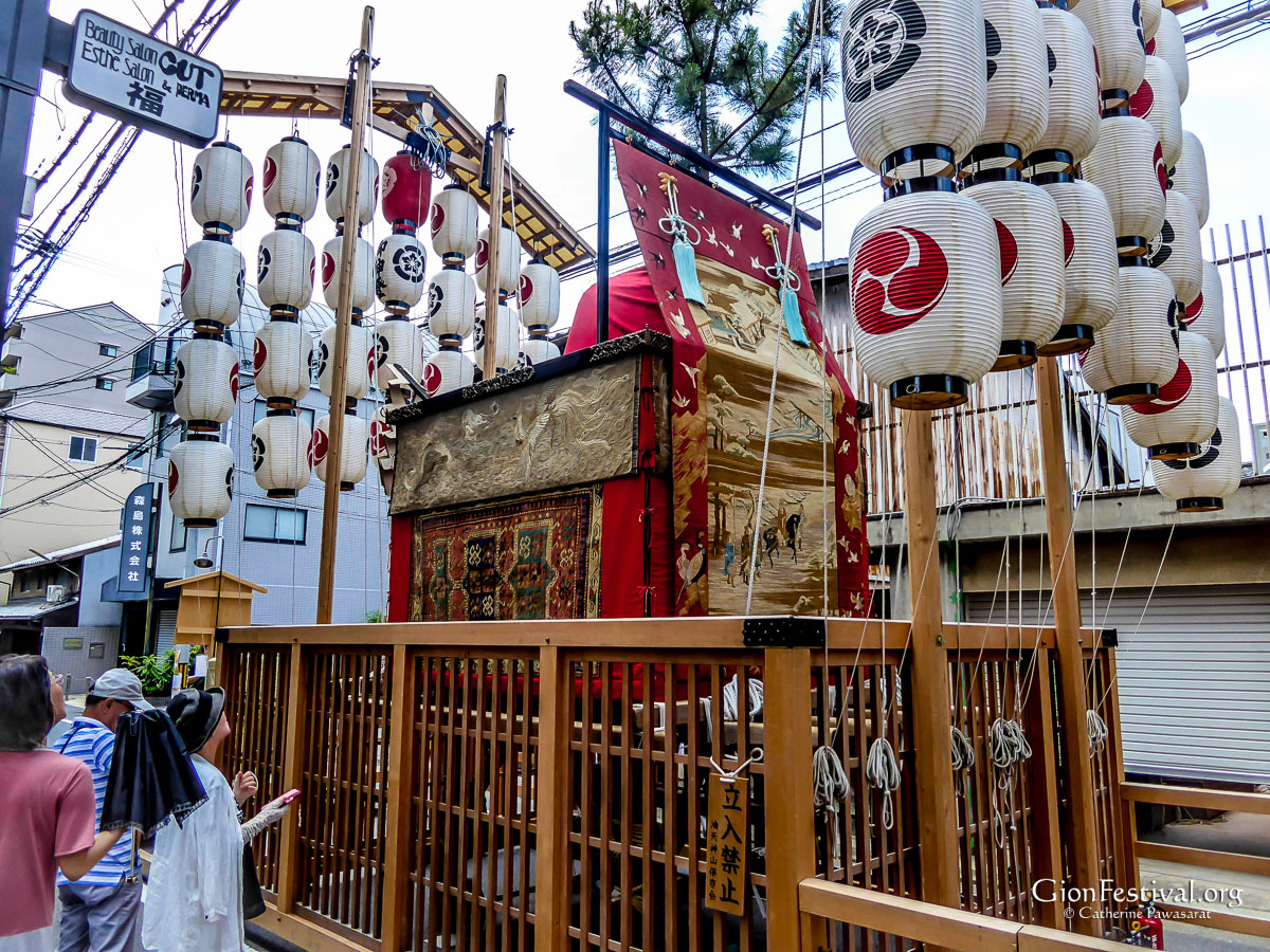 abura tenjin yama outdoor float display lanterns gion festival kyoto japan