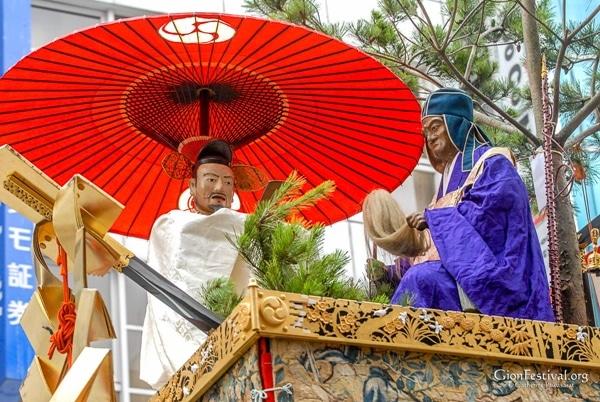 hakurakuten yama dorin bai letian daorin statues gion festival procession kyoto japan