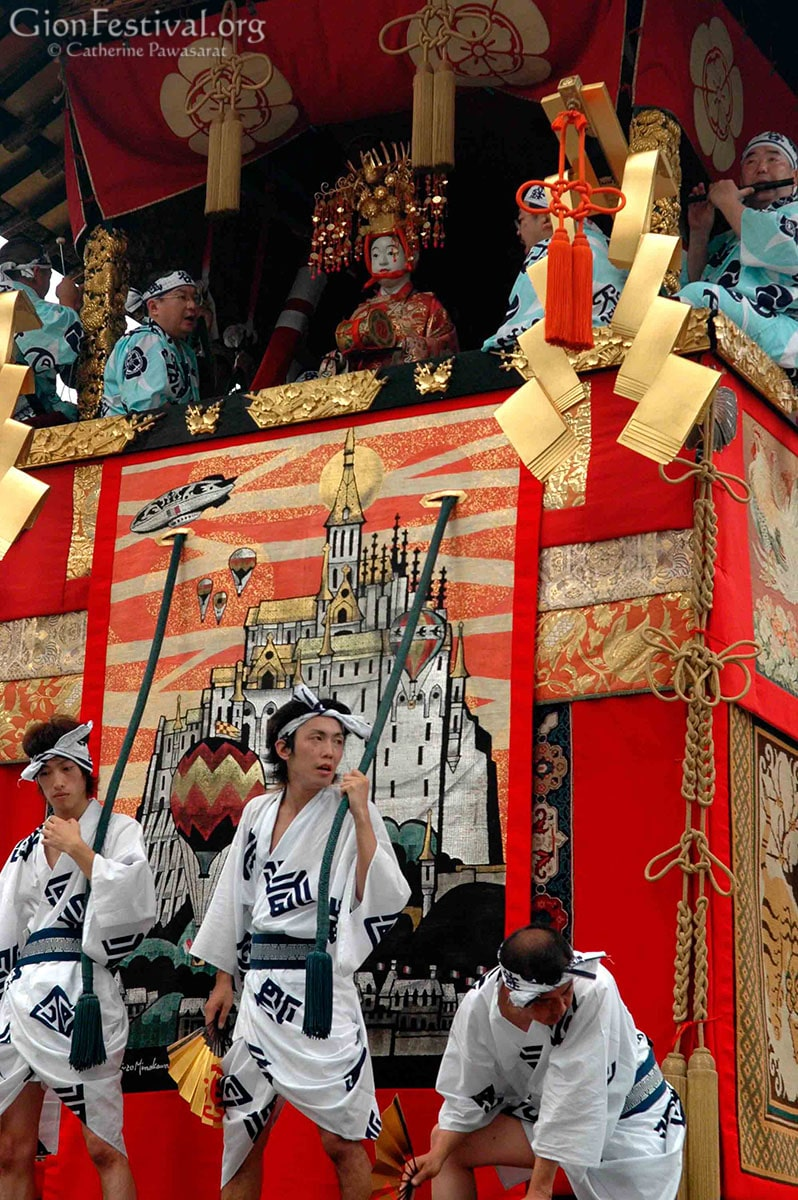 Kanko Boko float musicians float drivers men July 17 procession